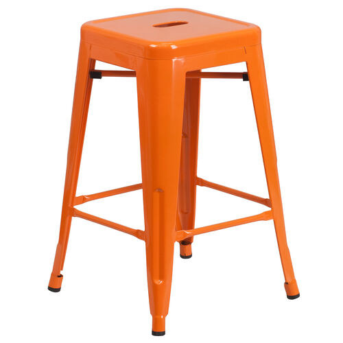 24 Quot Orange No Back Metal Stool Ch 31320 24 Or Gg