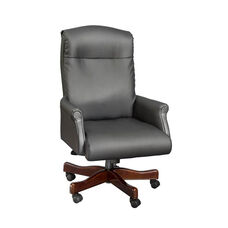 Governors Roll Arm Executive Desk Chair in Black Leather - Engraved Executive Mahogany
