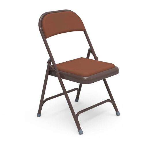 Our Quick Ship Multi-Purpose Steel Folding Chair with Brown Vinyl Pads and Mocha Frame - 17.75