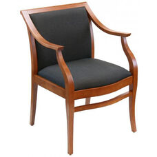 Paris Indoor Office Chair with Solid Charcoal Fabric Seat and Back - Cherry Wood Finish