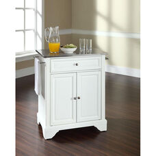 Stainless Steel Top Portable Kitchen Island with Lafayette Feet - White Finish