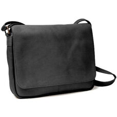 Shoulder Bag with Flap - Colombian Vaquetta Leather - Black