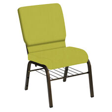 Embroidered HERCULES Series 18.5''W Church Chair in E-Z Wallaby Lime Vinyl with Book Rack - Gold Vein Frame