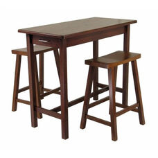 3-Pc Kitchen Island Table with 2 Saddle Stools