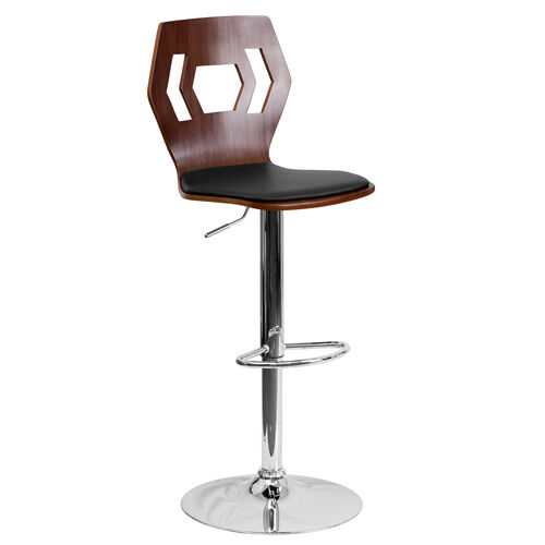 Our Walnut Bentwood Adjustable Height Barstool with Designer Cutout Back and Black Vinyl Seat is on sale now.