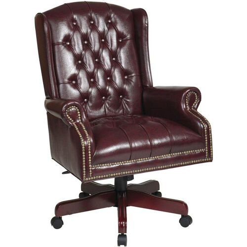 Our Work Smart Deluxe High Back Traditional Button Tufted Vinyl Executive Chair - Oxblood is on sale now.