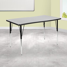 "28""W x 47.5""L Rectangular Wave Collaborative Grey Thermal Laminate Activity Table - Standard Height Adjustable Legs"