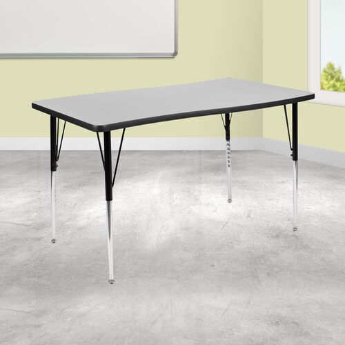 "Our 28""W x 47.5""L Rectangular Wave Collaborative Grey Thermal Laminate Activity Table - Standard Height Adjustable Legs is on sale now."