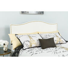 Lexington Upholstered King Size Headboard with Accent Nail Trim in White Fabric