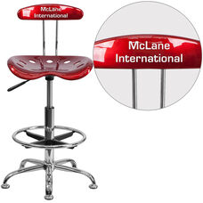 Personalized Vibrant Wine Red and Chrome Drafting Stool with Tractor Seat
