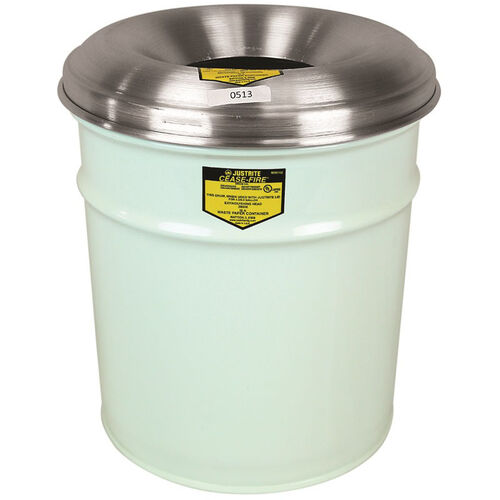 Cease-Fire® Safety Drum 6 Gallon Waste Receptacle with Aluminum Head - White