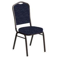 Embroidered Crown Back Banquet Chair in Jasmine Tartan Blue Fabric - Gold Vein Frame