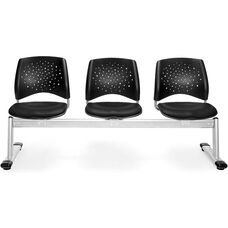 Stars 3-Beam Seating with 3 Vinyl Seats - Black