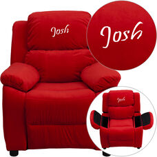 Personalized Deluxe Padded Red Microfiber Kids Recliner with Storage Arms