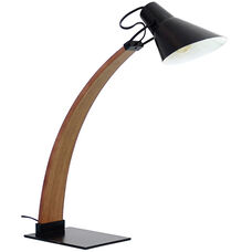 Noah Mid-Century Modern Table Lamp with Walnut Accents - Black
