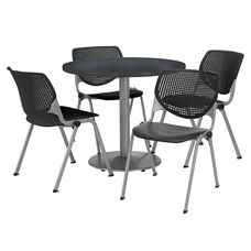 42'' Round Graphite Nebula Laminate Table Set with Black Finish Poly Stack Chairs - Seats 4