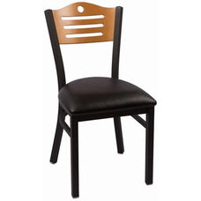 Eagle Series Wood Back Armless Chair with Steel Frame and Vinyl Seat - Natural