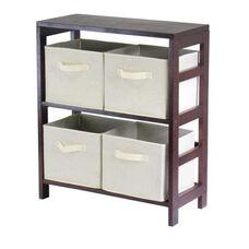 Capri 2-Tier Shelf with Beige Baskets
