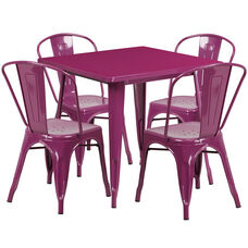 "Commercial Grade 31.5"" Square Purple Metal Indoor-Outdoor Table Set with 4 Stack Chairs"