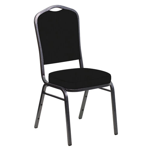 Our Embroidered E-Z Wallaby Black Vinyl Upholstered Crown Back Banquet Chair - Silver Vein Frame is on sale now.