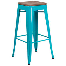 "30"" High Backless Crystal Teal-Blue Barstool with Square Wood Seat"