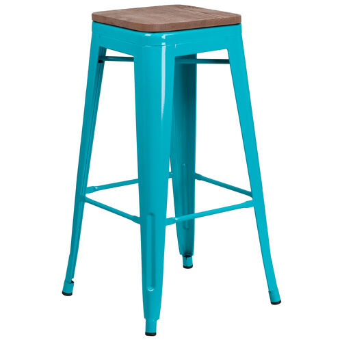 """Our 30"""" High Backless Crystal Teal-Blue Barstool with Square Wood Seat is on sale now."""