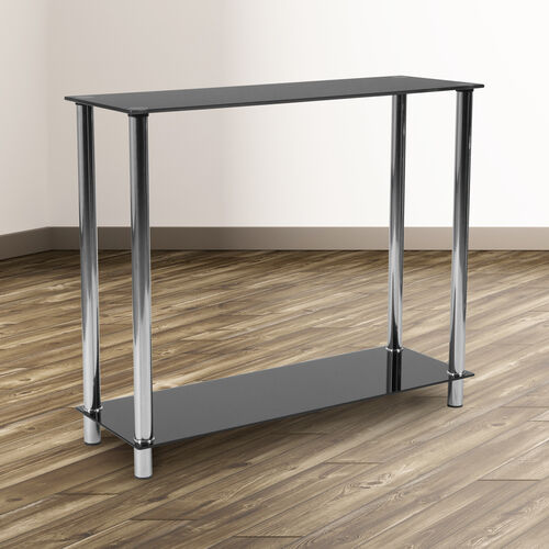 Our Riverside Collection Black Glass Console Table with Shelves and Stainless Steel Frame is on sale now.