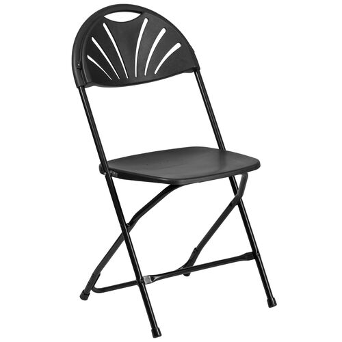 Our HERCULES Series 650 lb. Capacity Black Plastic Fan Back Folding Chair is on sale now.