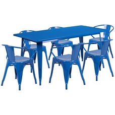 """Commercial Grade 31.5"""" x 63"""" Rectangular Blue Metal Indoor-Outdoor Table Set with 6 Arm Chairs"""