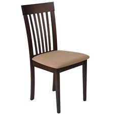 Wellington Espresso Finish Wood Dining Chair with Rail Back and Brown Fabric Seat