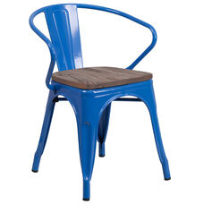Blue Metal Chair with Wood Seat and Arms