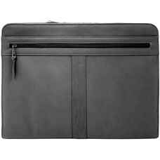 Executive Zip Around Writing Portfolio with Cell Phone Pocket - Top Grain Nappa Leather - Black