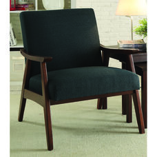 Ave Six Davis Fabric Accent Chair - Klein Charcoal and Medium Espresso