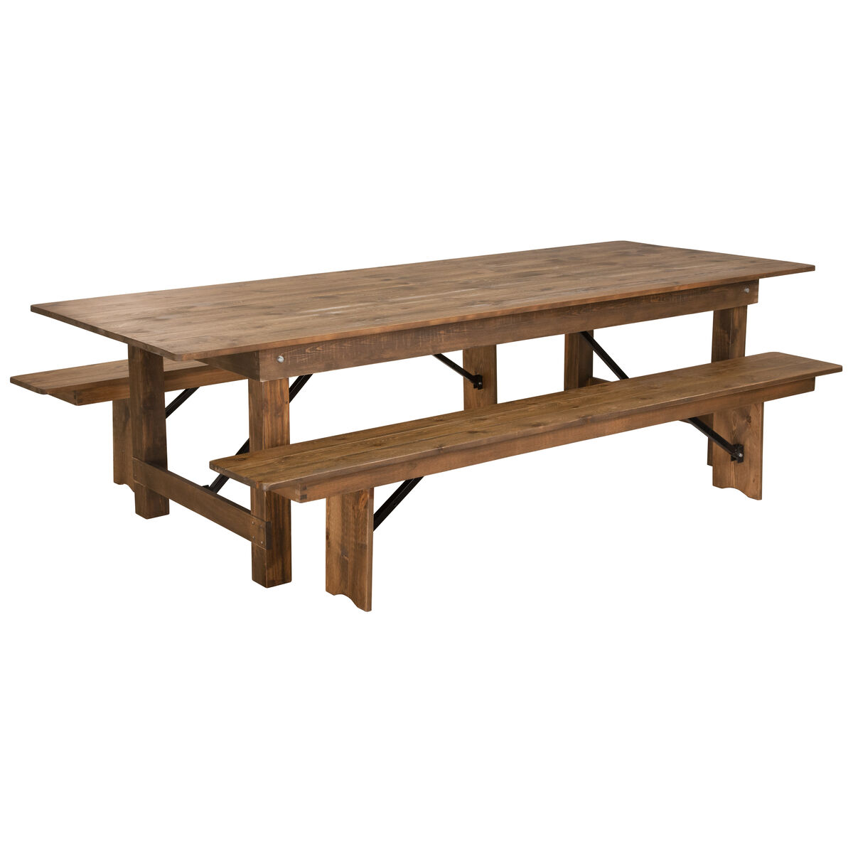 9x40 farm table2 bench set xa farm 6 gg bizchair our hercules series 9 x 40 antique rustic folding farm table and two watchthetrailerfo