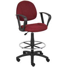 Contoured Back Drafting Stool with Foot Ring and Loop Arms - Burgundy