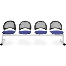 Moon 4-Beam Seating with 4 Fabric Seats - Royal Blue