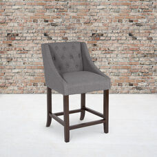 """Carmel Series 24"""" High Transitional Tufted Walnut Counter Height Stool with Accent Nail Trim in Dark Gray Fabric"""