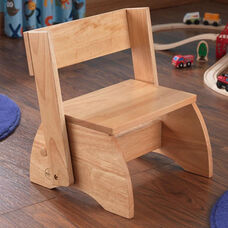 Kids Size Large Sturdy Hardwood Flip Step to Sit Stool - Natural