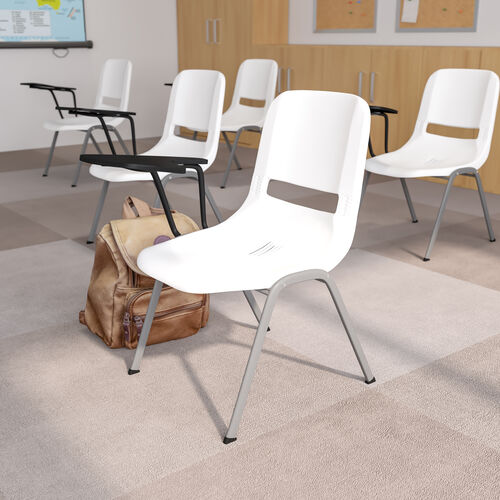 White Ergonomic Shell Chair with Right Handed Flip-Up Tablet Arm