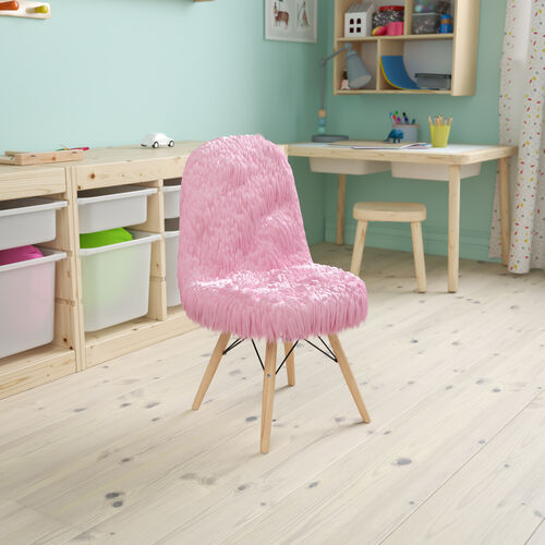 Kids Shaggy Dog Light Pink Accent Chair