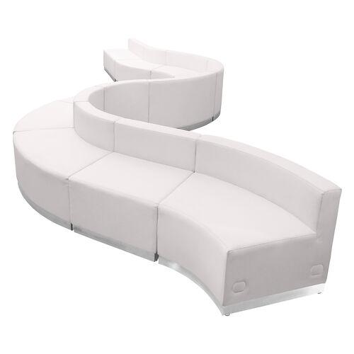HERCULES Alon Series Melrose White LeatherSoft Reception Configuration, 10 Pieces