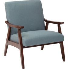 Ave Six Davis Fabric Accent Chair - Klein Sea and Medium Espresso