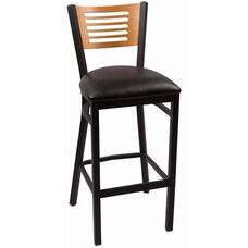 Jones River Series Wood Back Armless Barstool with Steel Frame and Vinyl Seat - Natural