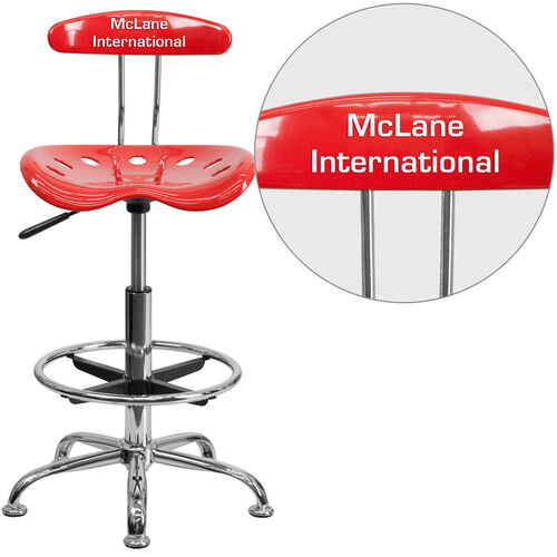 Our Personalized Vibrant Cherry Tomato and Chrome Drafting Stool with Tractor Seat is on sale now.