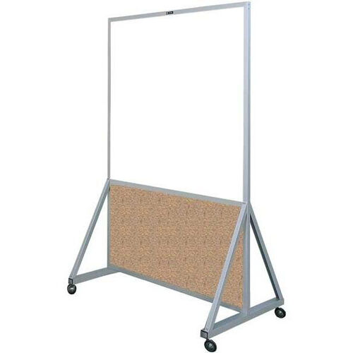Our 629 Series Multi-Use Double Sided Room Divider - Markerboard with Cork Kick Panel - 48