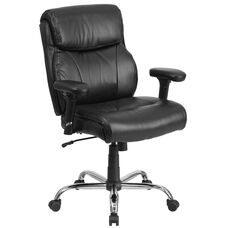 HERCULES Series Big & Tall 400 lb. Rated Black Leather Ergonomic Task Office Chair with Clean Line Stitching and Arms