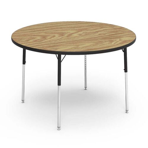 Our Quick Ship 4000 Series Adjustable Height Round Laminate Activity Table with Medium Oak Top - 48