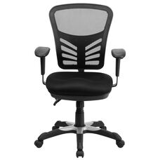 Basics Ergonomic Mid-Back Mesh Multifunction Executive Swivel Office Chair with Adjustable Arms, Black