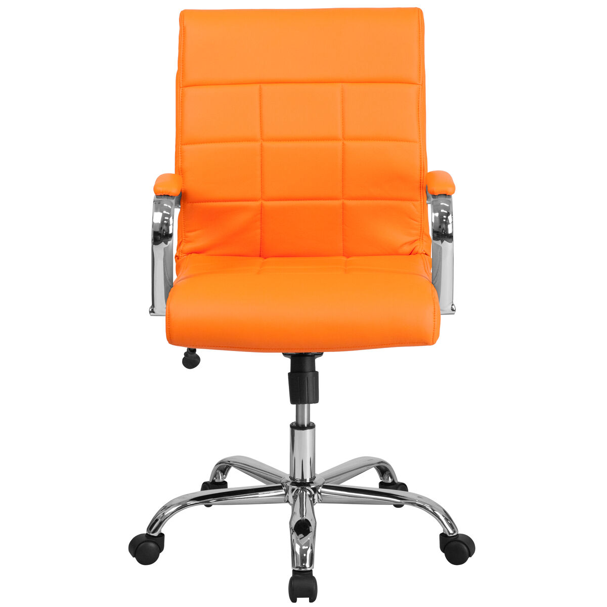 Fantastic Mid Back Orange Vinyl Executive Swivel Office Chair With Chrome Base And Arms Ncnpc Chair Design For Home Ncnpcorg