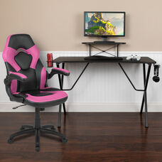 BlackArc Black Gaming Desk and Pink/Black Racing Chair Set with Cup Holder, Headphone Hook, and Monitor/Smartphone Stand